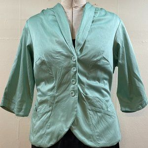 POCKETS! PLUS SIZE 2X Miss Candyfloss Icy Aqua Blue Fitted Retro Styled Jacket